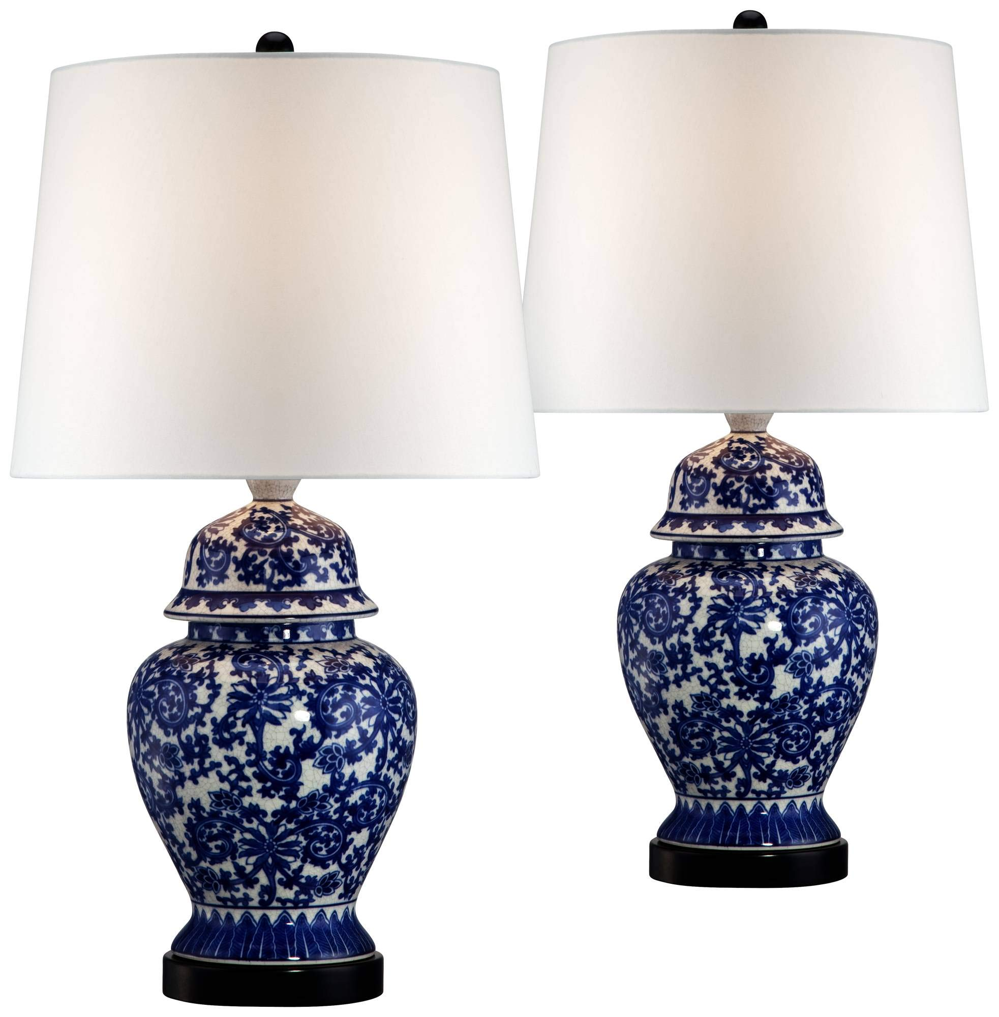 Asian Table Lamps Set of 2 Porcelain Blue Temple Jar Floral White Drum Shade for Living Room Family Bedroom Bedside - Regency Hill