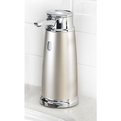 mDesign Dispensador de jabón automático sin contacto – Dosificador eléctrico de plástico para cocina y baño