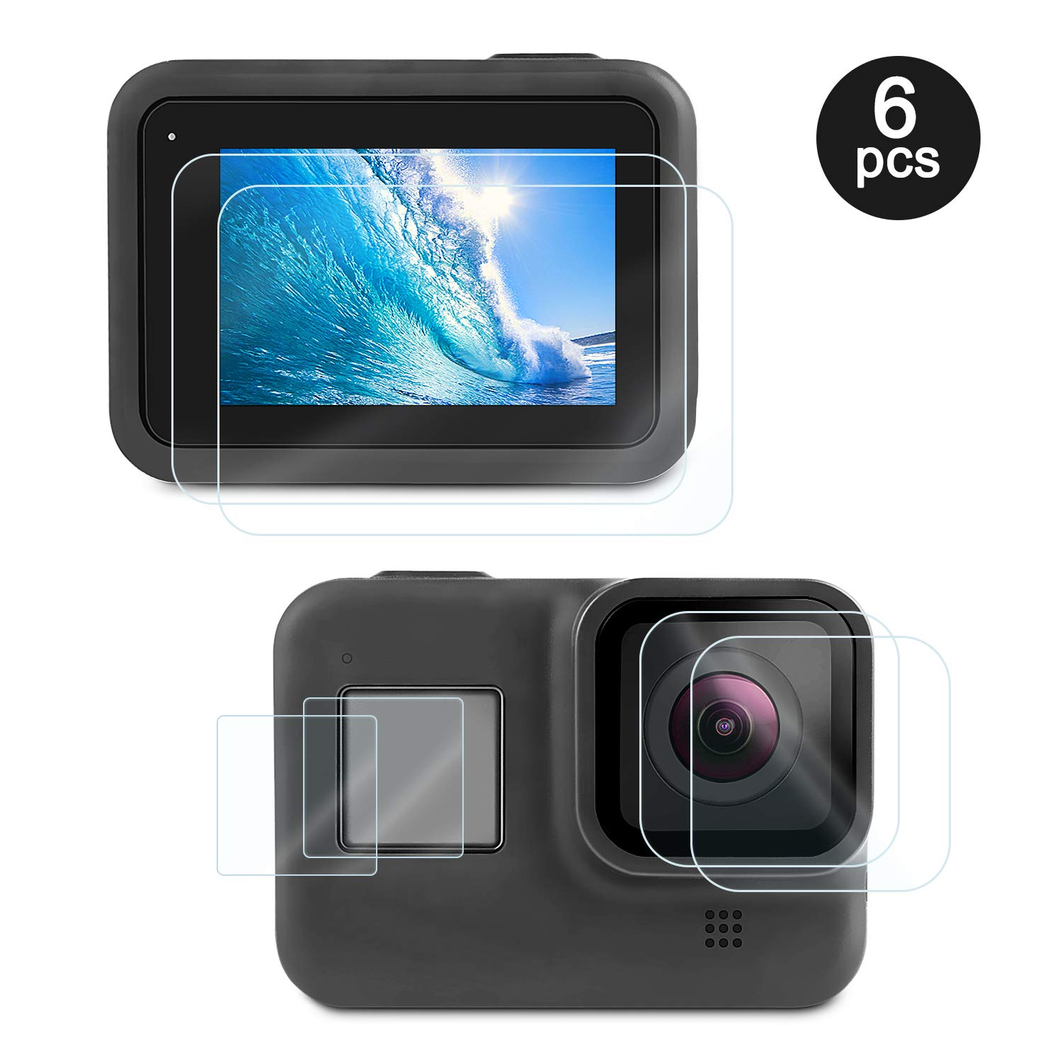 Deyard Screen Protector for GoPro Hero 8 Black, 4pcs Ultra Clear Tempered Glass Screen Protectors + 2pcs Display HD Protective Films Lens Protector Accessories by Deyard