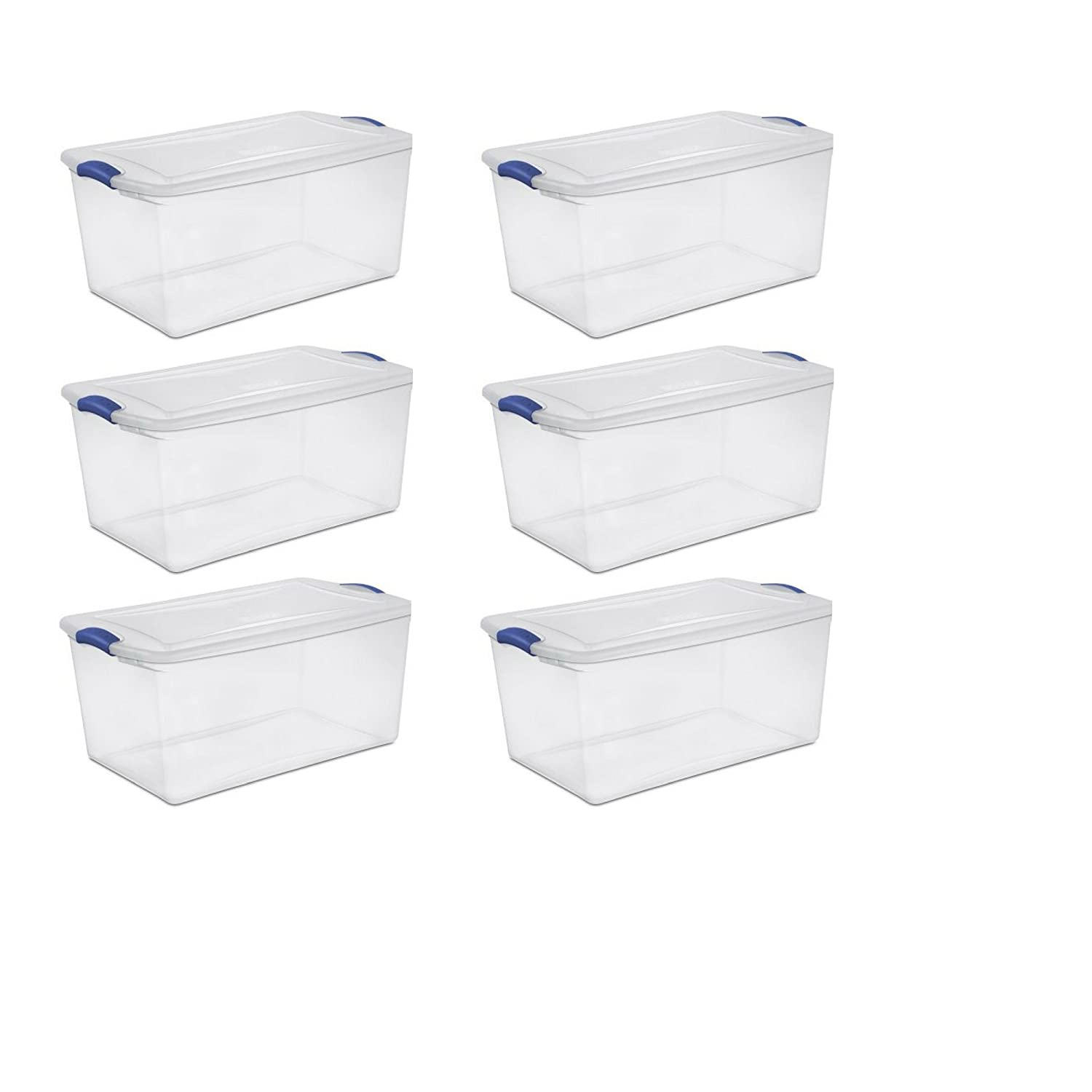 Sterilite 66 Qt./62 L Latch Box, Stadium Blue - 6 Pack