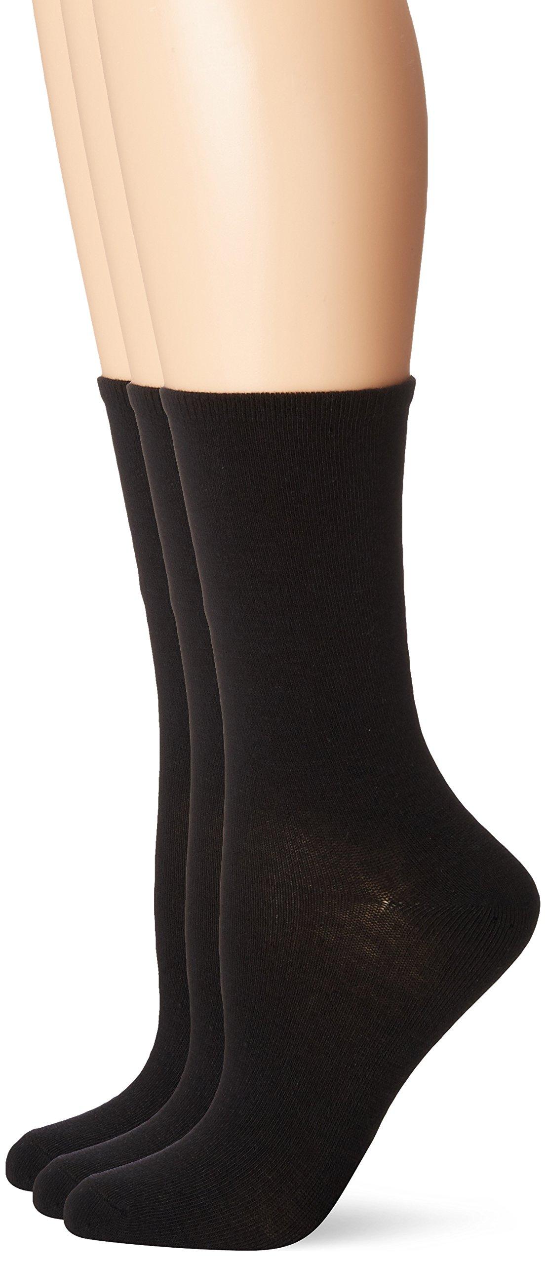 No Nonsense Women's Flat Knit Crew Sock, 3 Pair Pack, Solid Black 4-10