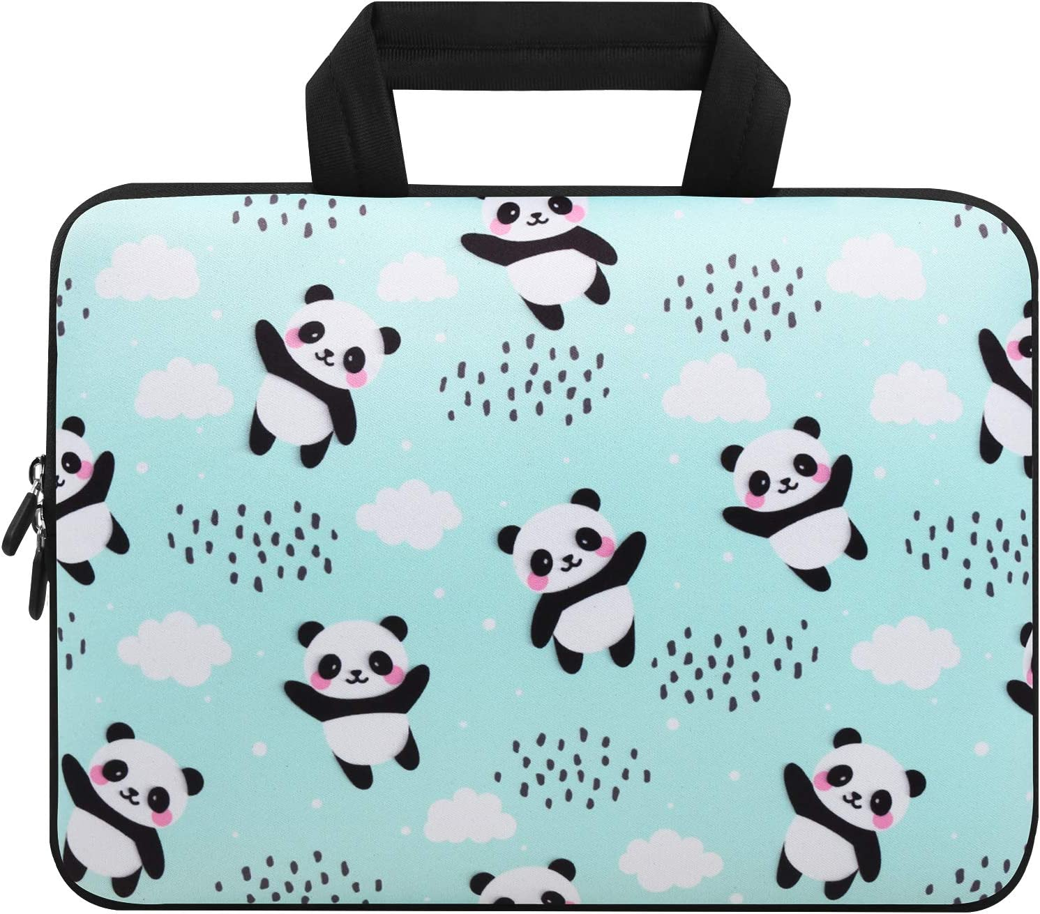 Violet Mist 11 11.6 12 12.1 Inch Laptop Sleeve Bag Carrying Case Neoprene Notebook Protective Bag Chromebook Tablet Cover with Handle for Office Men Women(Panda,12