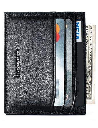 slim genuine leather credit card holder front pocket wallet with rfid blocking black - Leather Credit Card Holder
