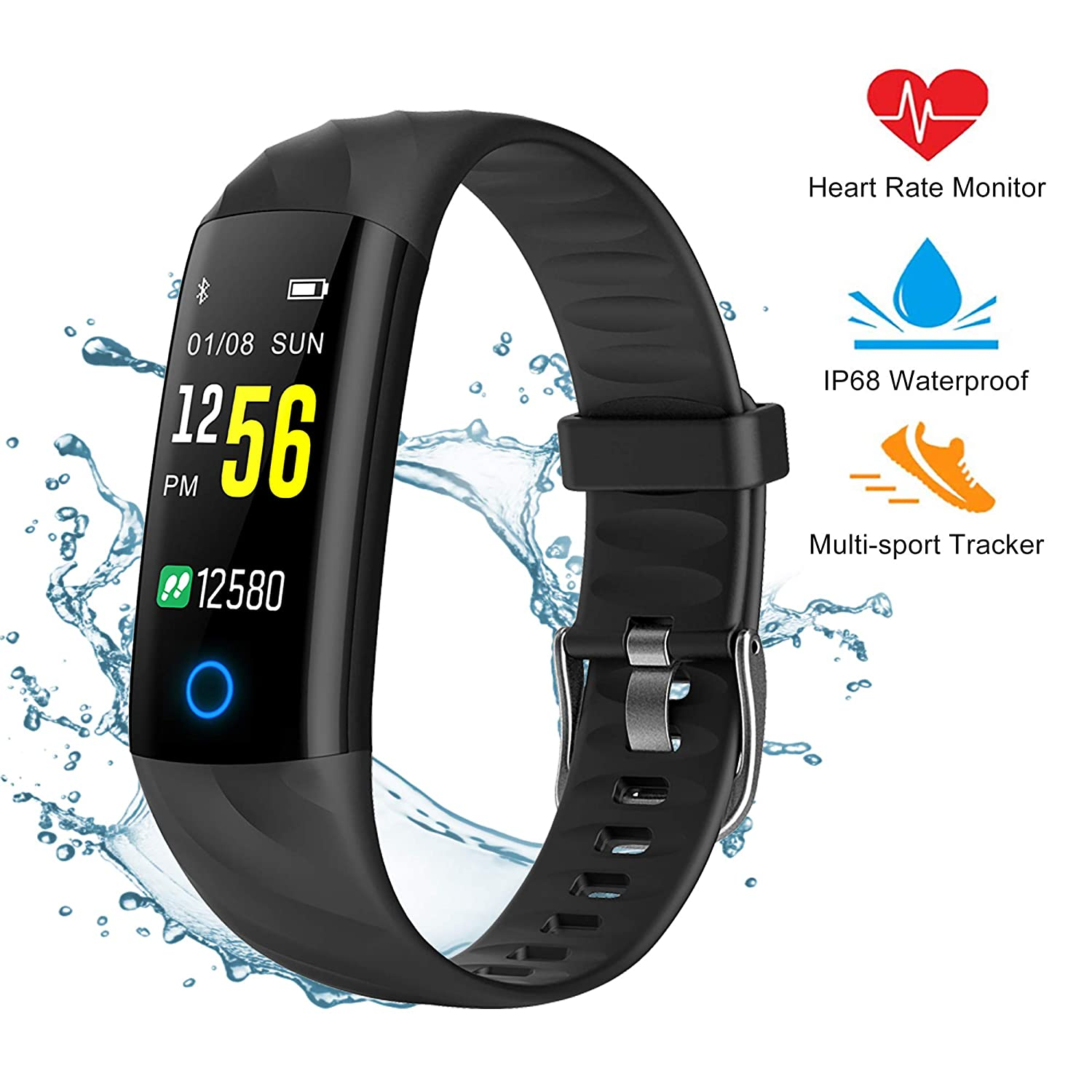 Pewant Fitness Tracker Smart Watch,IP68 Waterproof Activity Tracker Smart Watch with Heart Rate Blood Pressure Message Call Reminder Smartwatch for Women Men Kids,Bluetooth Touch Screen Sport Watch