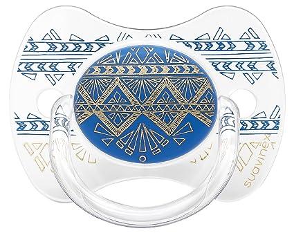 Chupete premium Suavinex Couture con tetina fisiológica de silicona, diseño étnico en tonos azules y dorados, para bebés de +18 meses