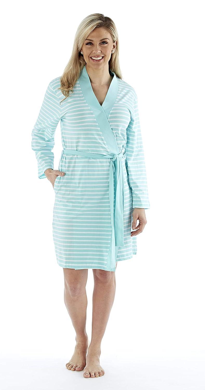 Ladies//Womens 100/% Cotton Kimono Striped Robe//Wrap Aqua//Grey//Pink Size 8-22