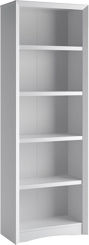 CorLiving Quadra 5 Shelf Faux Wood Grain Bookcase in White