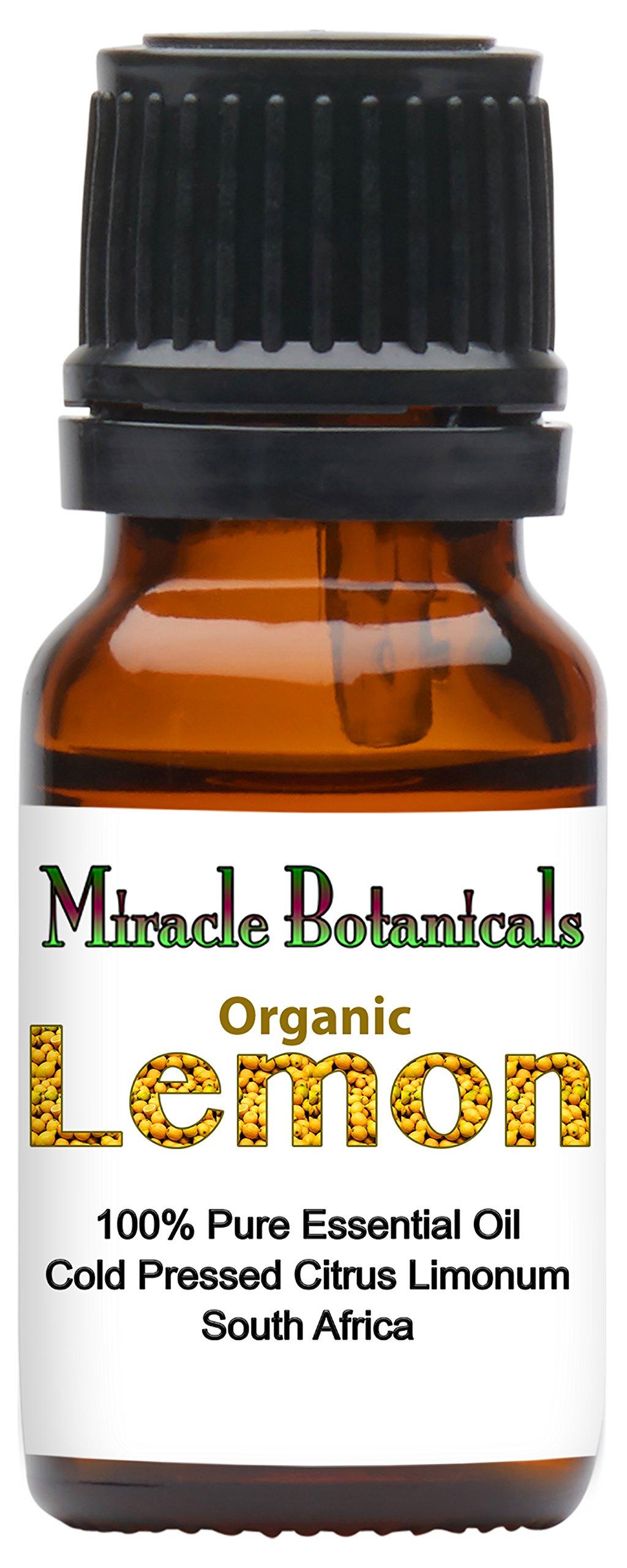 Miracle Botanicals Organic Lemon Essential Oil - 100% Pure Citrus Limonum - Therapeutic Grade - 10ml