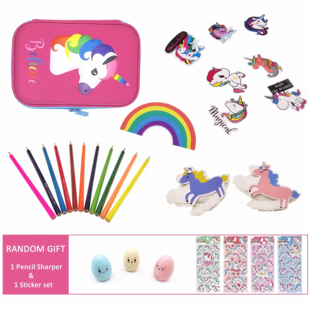 Cute Unicorn School Supplies for Girls, Unicorn Stationery, Unicorn Pencil Case, Pencils, Stickers and Rainbow Eraser