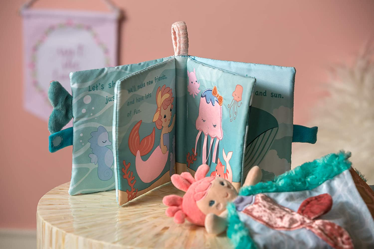 Mary Meyer Touch /& Feel Soft Cloth Book with Crinkle Paper and Squeaker Marina Mermaid