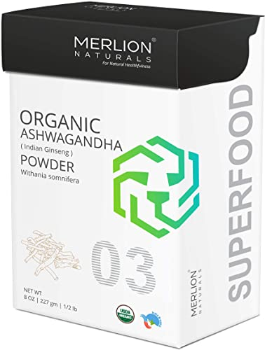 Organic Ashwagandha Root Powder by Merlion Naturals Withania Somnifera Indian Ginseng 8 OZ