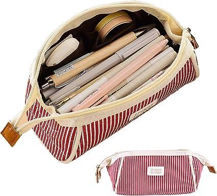 iSuperb Estuche Escolar Bolsa Pencil Case para Lapices Estudiante Plumier Colegio Pen Pencil Holder Lápiz Bolsa de Lona Gran Capacidad Trapezoidal Rayas Estuche Lápices (Rayas rojas): Amazon.es: Oficina y papelería
