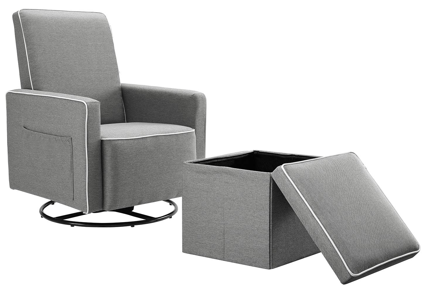 Angel Line Angel Line Sophia Upholstered Swivel Glider w Storage Ottoman, Gray, Grey