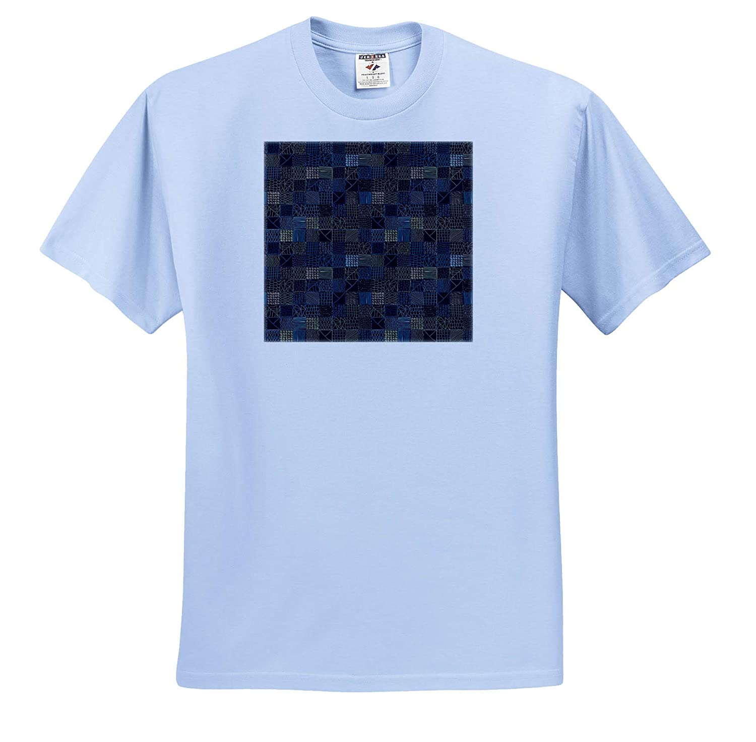 T-Shirts Gorgeous Dark Geometric Pattern of Lines Pattern Geometrical Shapes in Squares 3dRose Alexis Design