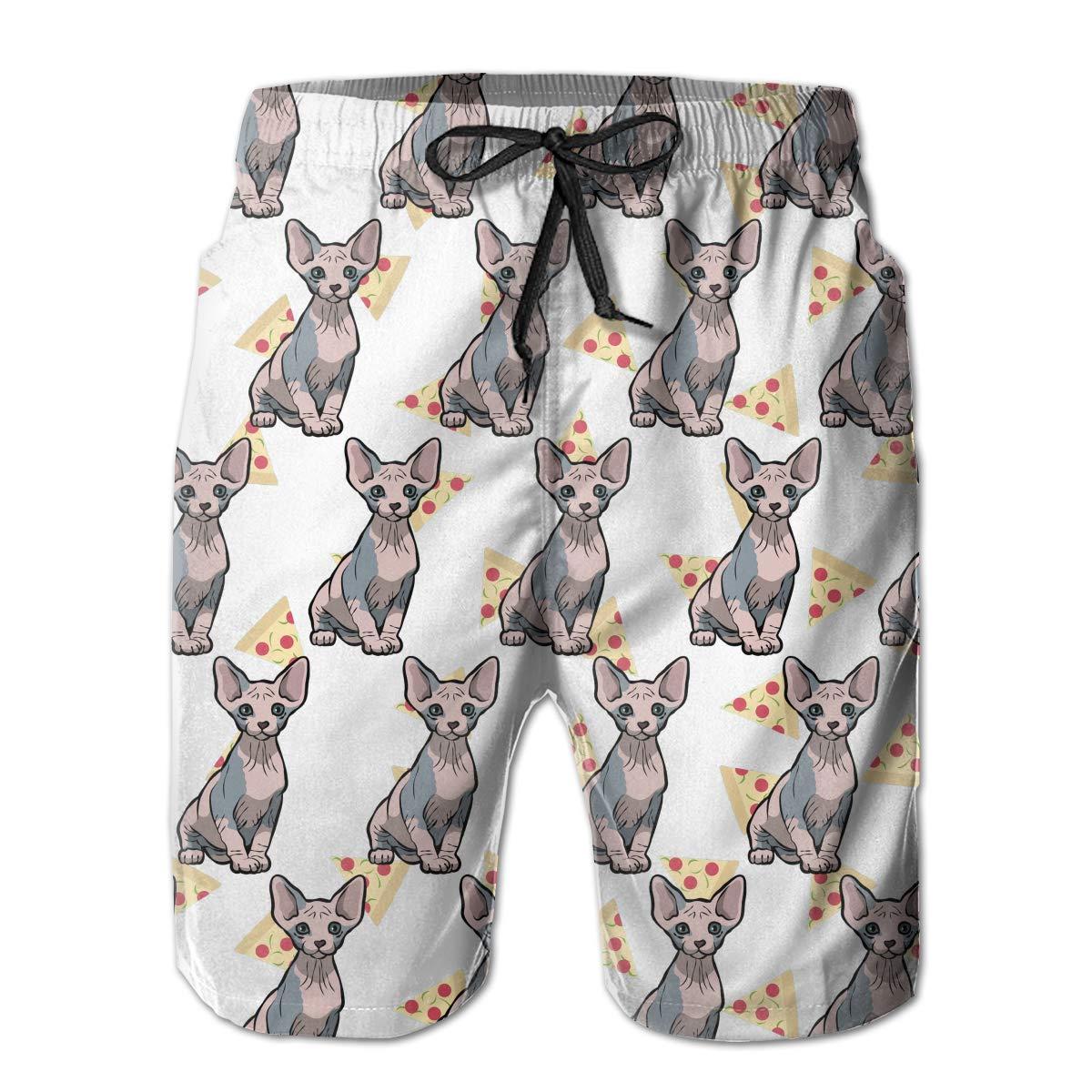 Mens Casual Sphynx Cat Taco 3D Print Graphic Medium Length Summer Drawstring Beach Shorts Surfing Trunks Pants