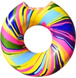 Cooluli Gigantic Rainbow Swirl Donut Pool Float - Fun for All Ages, 51-Inches