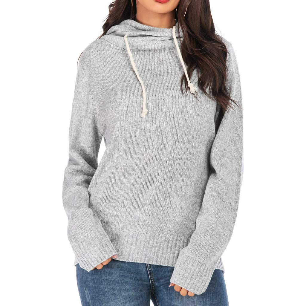 SADUORHAPPY Women Autumn Tops Fashion Solid Tunics Tops Long Sleeve Hoodie Shirt Sweatershirt Drawstring Sweaters Gray by SADUORHAPPY Sweatshirts