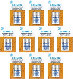50 SchmetzEmbroidery Sewing Machine Needles -size 90/14- Box of 10 cards