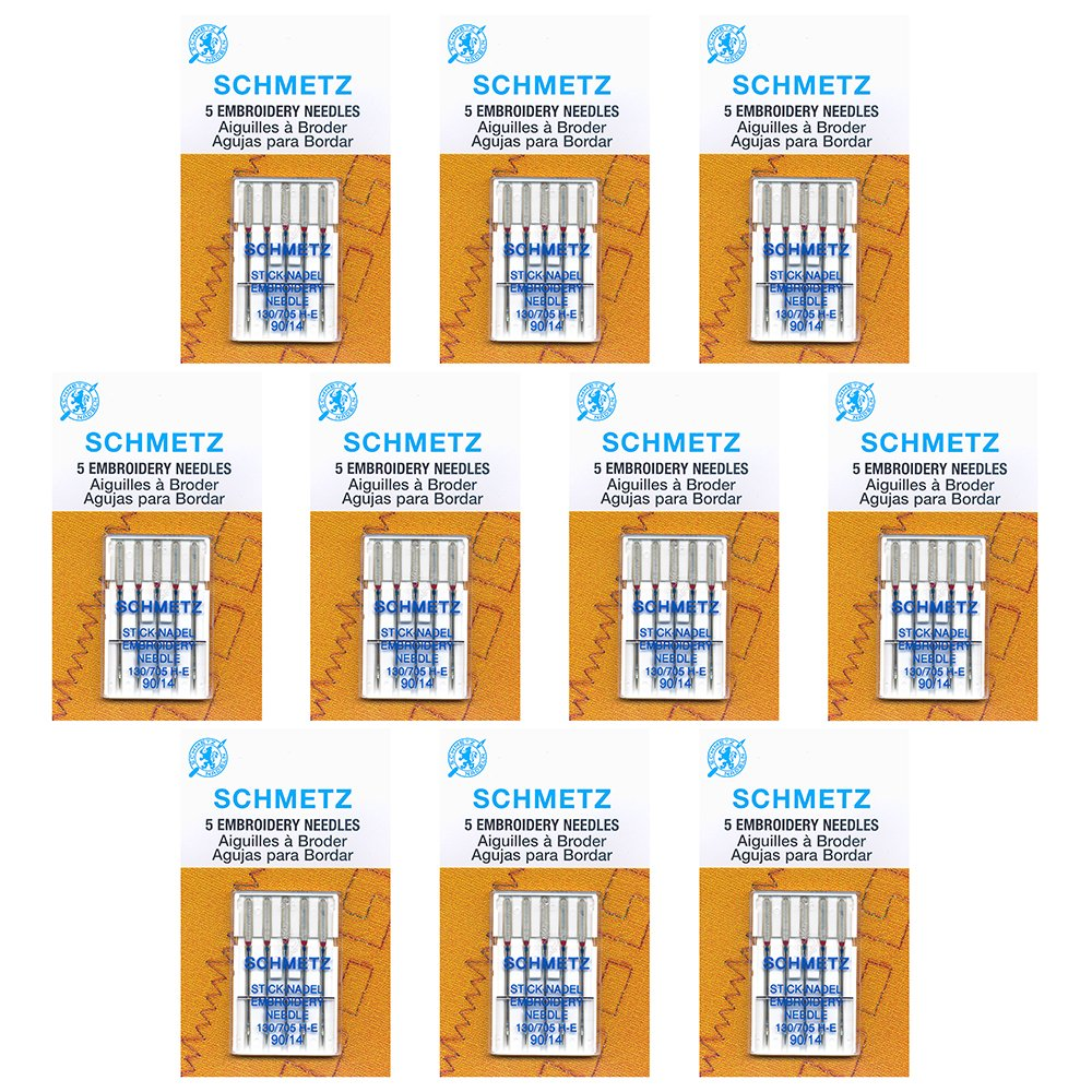 50 Schmetz Embroidery Sewing Machine Needles - size 90/14 - Box of 10 cards