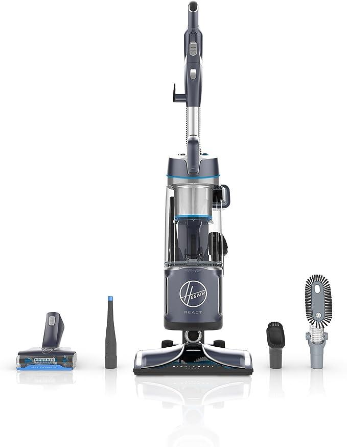 Hoover REACT Powered Reach Plus - Aspiradora (Seca y húmeda, HEPA, Multi cyclonic, Sin bolsa, 1,5 L, Gris, Transparente): Amazon.es: Hogar