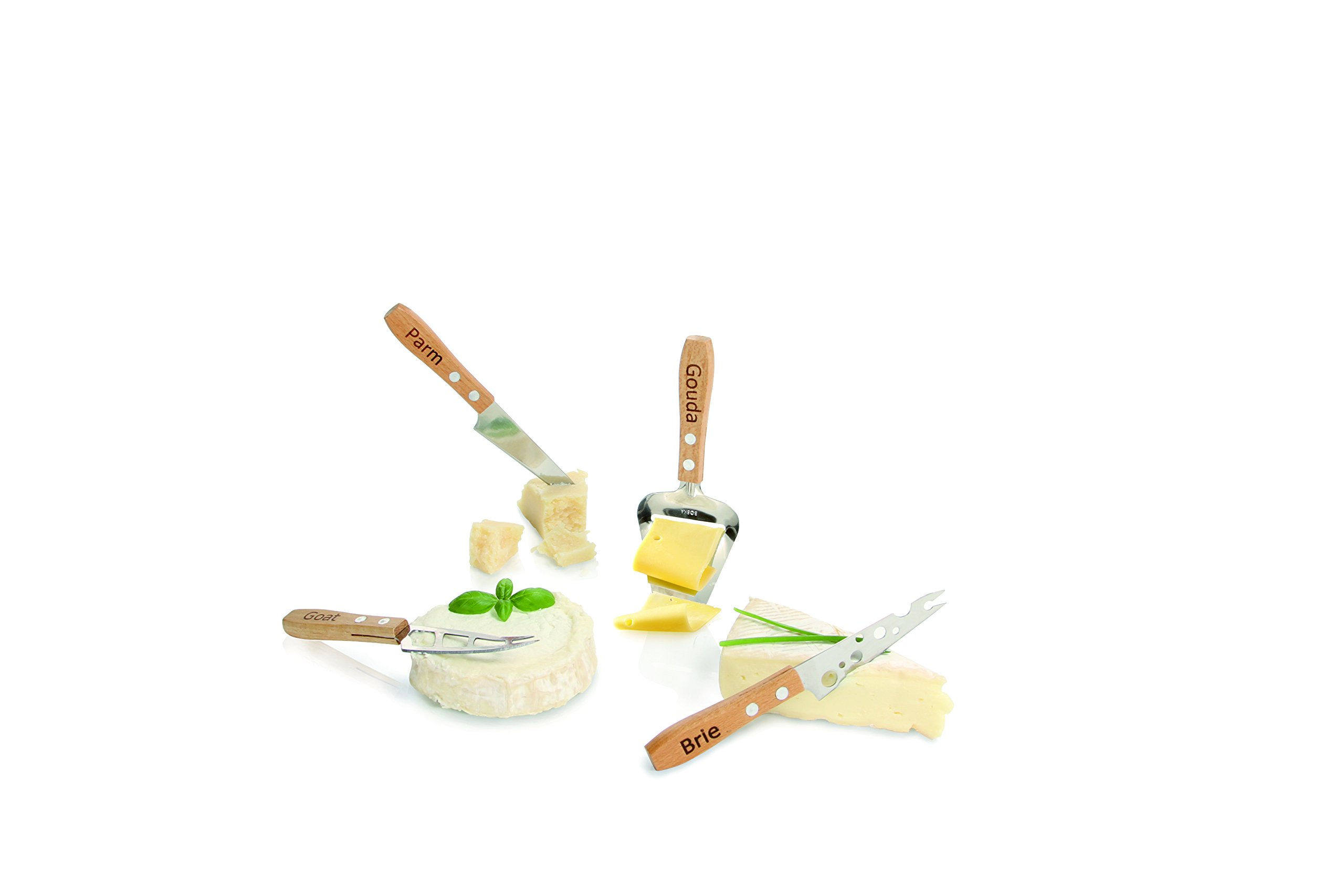 Boska Holland Beech Wood Cheese Knives, 4 Piece Set, Explore Collection