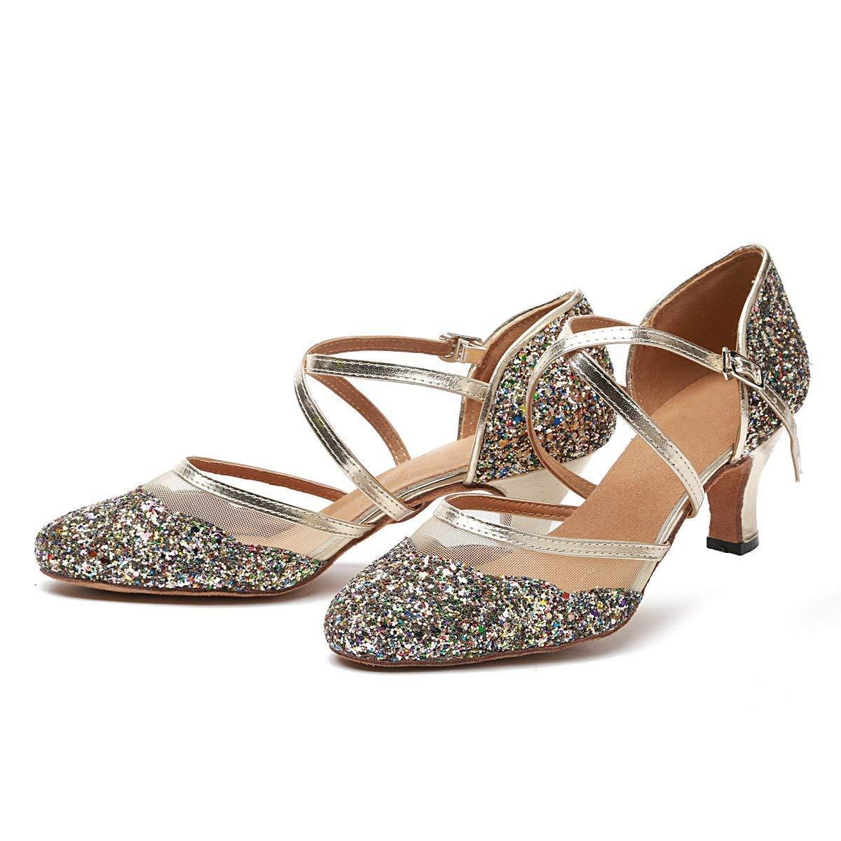 Frauen Closed Toe Gold Gold Gold Glitter Latin Dance Schuhe Hochzeit Pumps UK 5 (Farbe   -, Größe   -) 8489a1