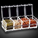 AJB Storage Container with Spoons and Cover, Premium Quality Seasoning Organizer