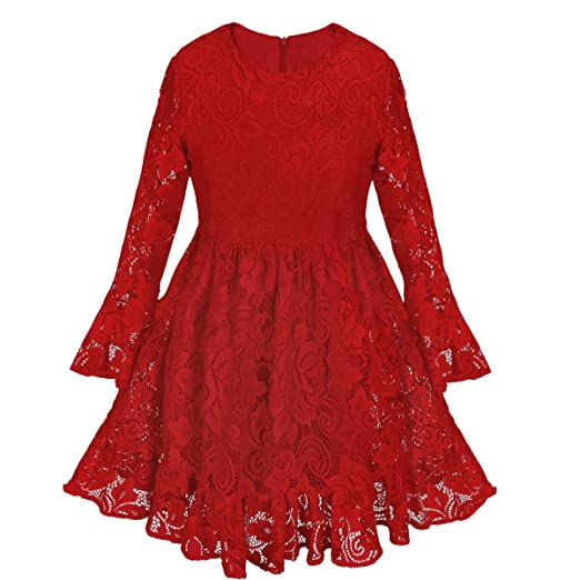 ACSUSS Kids Toddler Girls Christmas Xmas Red Tutu Dress Long Bell Sleeves Floral Lace Blouse Dress