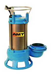 "AMT Pump 5760-95 Submersible Shredder Sewage Pump, Cast Iron, 1 HP, 1 Phase, 115V, Curve A, 2"" NPT Female Discharge Port"