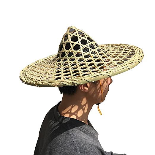fe432fa9 Sunny Hill Chinese Handmade Natural Hollow Out Lattice Bamboo Braid Hat  Fishing Cap Adult Rice Hat