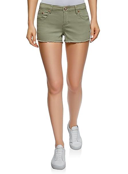 a265a070c8 oodji Ultra Mujer Pantalones Cortos Vaqueros con Flecos  Amazon.es  Ropa y  accesorios