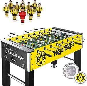 liveki Redecker – Futbolín Borussia Dortmund, 7 ranuras de aufstellungen Sistema Profesional de mesa de futbolín Fútbol Altura Regulable Peso: 50 kg 2,8 cm Cuerpo 15,8 mm Barras Izzy Sport Live Kicker: