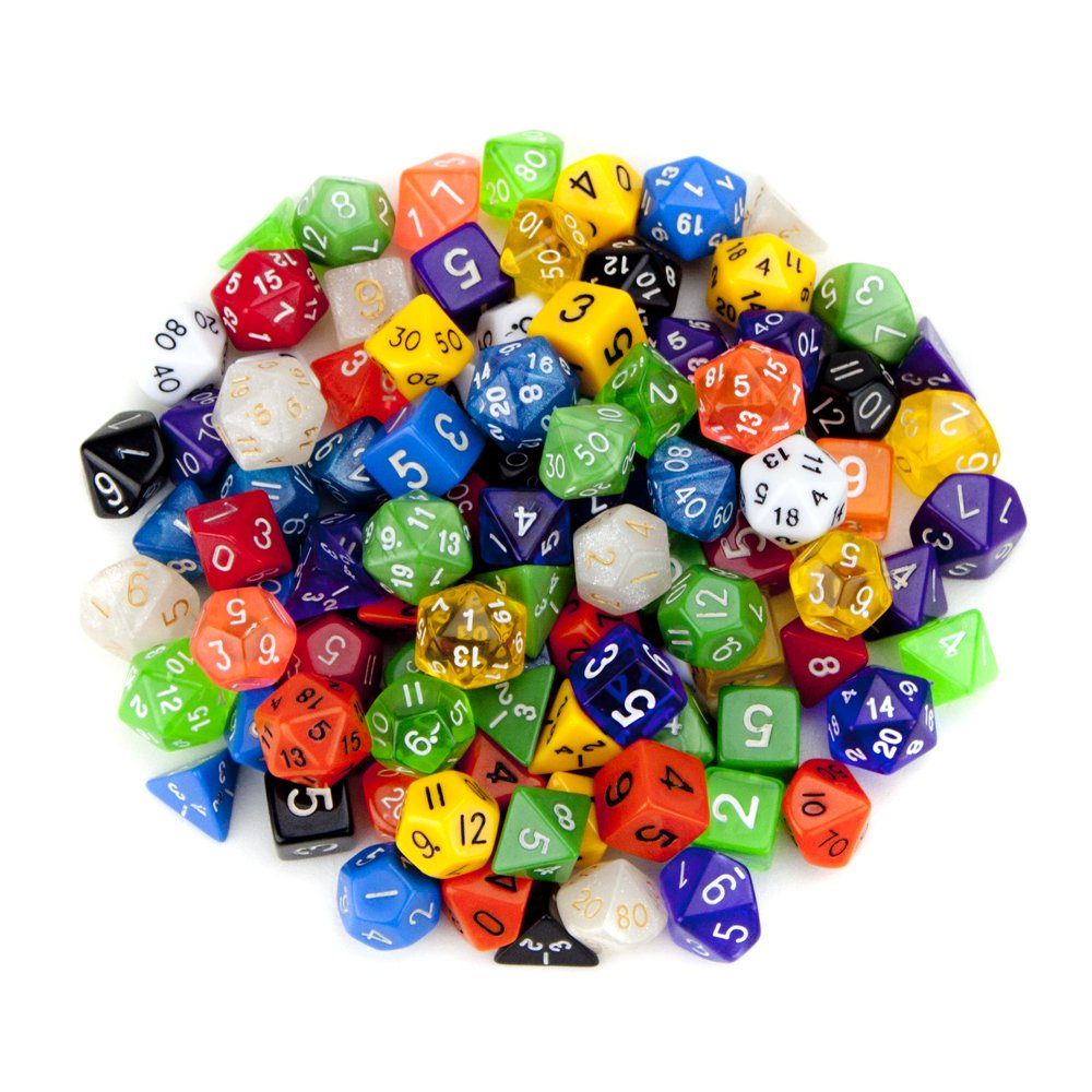 Wiz Dice Random Polyhedral Dice in Multiple Colors (100 + Pack) Bundle with Wiz Dice Pouch by Wiz Dice