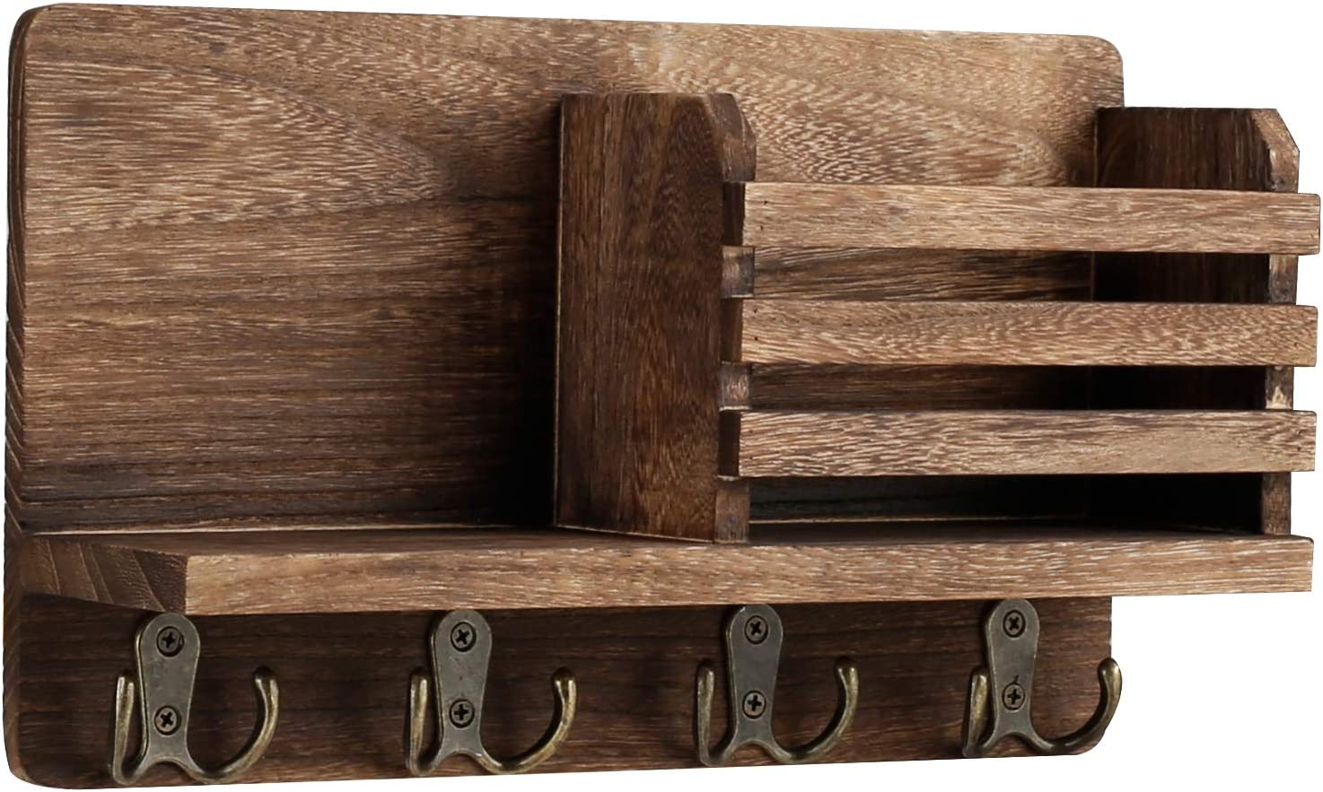 """Entryway Mail Envelope Organizer with 4 Key Hooks Wall Mounted, Rustic Wood Mail Holder Shelf with Key Hooks for Wall, Perfect for Entryway, Kitchen, Mudroom, 11.8"""" x 7"""" (Rustic Brown)"""