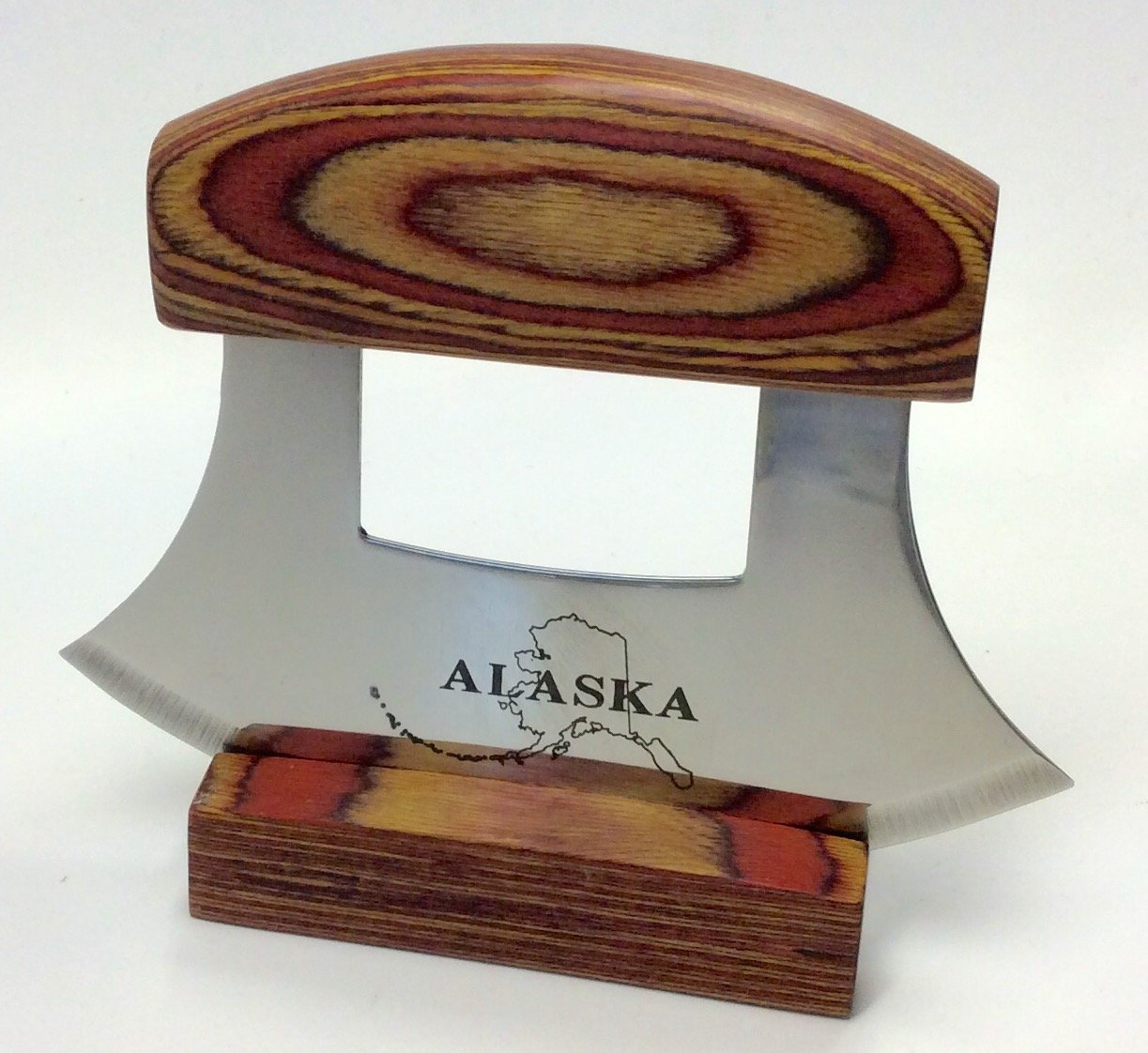 Alaska Ulu Knife Natural Exotic Wood Stand Etched Blade by Arctic Circle