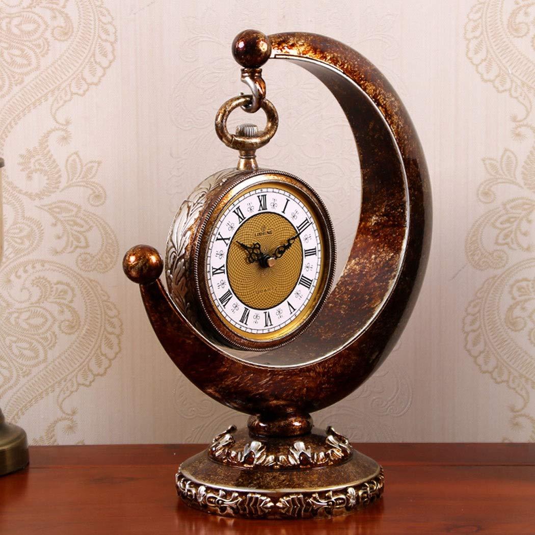 HONGNA European Plastic Clock Ornaments Living Room Home Clocks Atmosphere Sitting Clocks Desktop Pendulum Clock Creative Desk Clock Desktop Clocks 12 Inches (Color : Brown, Size : 12 inches) by HONGNA (Image #3)