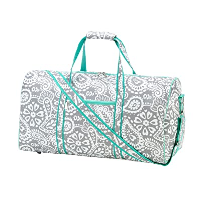 21 in Print Duffle, Overnight, Carry On Bag Can Be Personalized or Monogrammed (Monogrammed Parker Paisley)