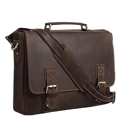 b801b8348d Amazon.com  Texbo Men s 16 Inch Full Grain Cowhide Leather Laptop Briefcase  Messenger Bag Tote  Computers   Accessories
