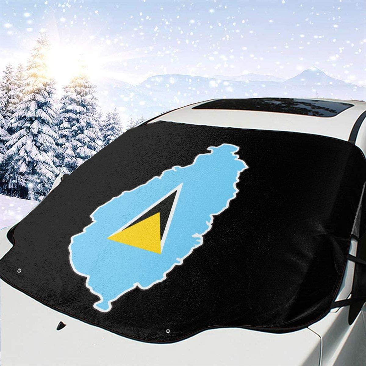 57.87 X 46.45 Inch Q89 St Lucia Flag and Map Car Snow Cover Windshield Cover Sunshade Suitable for All Cars and Seasons
