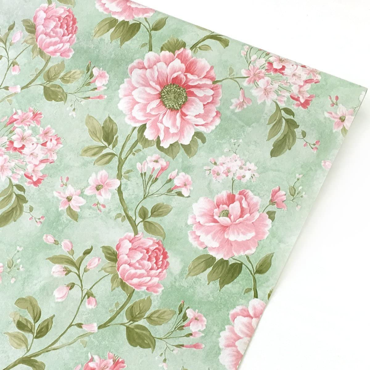 Vintage Flower Stand Liner Dresser Drawer Sticker PVC autoadhesivo Papel pintado autoadhesivo Gabinete Mesa Contacto Papel Oro Rosa