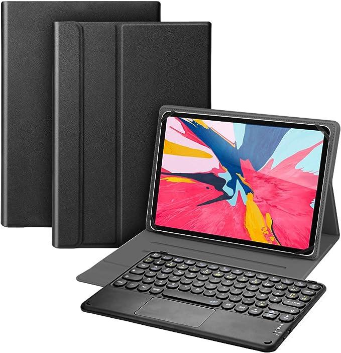 KOOCHUWAH Teclado AZERTY Bluetooth Tecla Pad TouchPad Funda de Protección para Tablet Windows Android iPad iOS