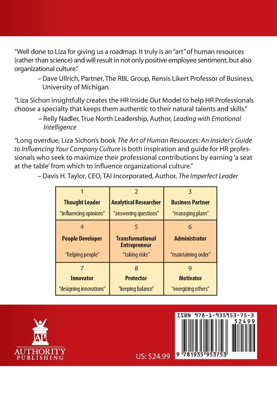 The Art Of Human Resources: An Insider's Guide To Influencing Your Culture:  Liza Sichon: 9781935953753: Amazon: Books
