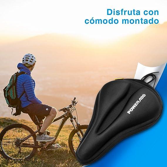 POWERADD Asiento de Bicicleta de Gel, Cubierta para Sillín de Bicicleta, Cómodo Acolchado, Cojín de Silicona de Bicicleta, para Bicicleta de Montaña-Negro: Amazon.es: Deportes y aire libre