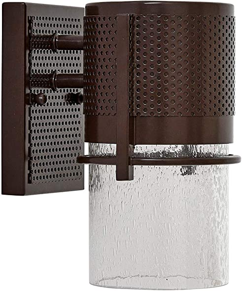 Bronze Outdoor Transitional Glass Wall Sconce Modern and Rustic LED Light Fixture