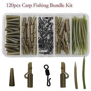 jshanmei 120 piezas/caja de pesca de carpas tackle kit antienredos mangas Tail cauchos Safety Lead Clips giratorio de cambio rápido de pesca ...