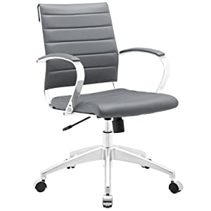 Modway Jive Ribbed Mid Back Computer Desk Swivel Office Chair In Gray