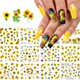 Nail Art Stickers Water Transfer Nail Decals, 12 Sheets Flower Nail Stickers Nail Art Supplies Sunflower Nail Decals Nail Art