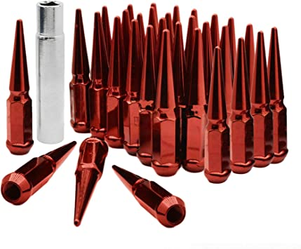 CA Supplies 24PCs 9//16-18 Spike RED Solid Steel Lug Nuts 4.5 INCHES Tall with Key