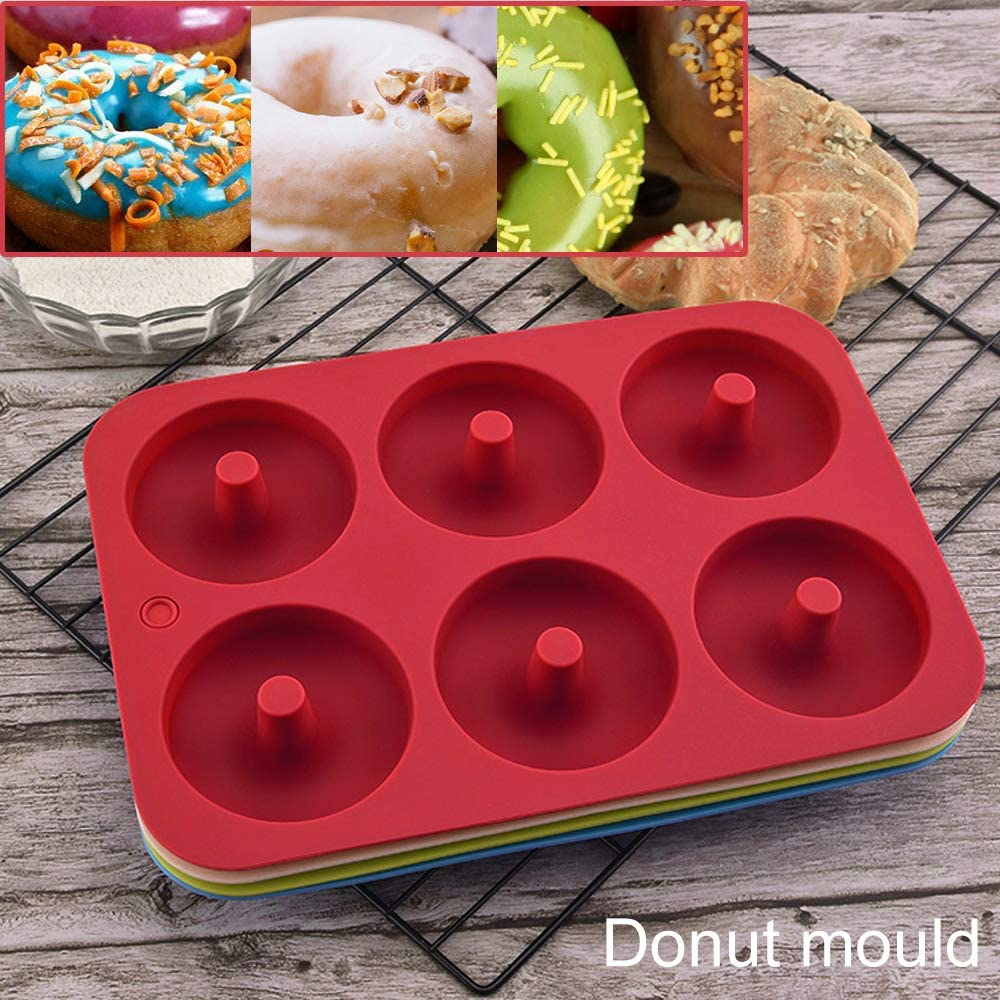 red Silicone Donut Molds 2 Pack Silicon Doughnut Mould 6 Cavity Non-Stick Safe Silicone Donut Baking Pan for Cake Biscuit Bagels Muffins-Blue
