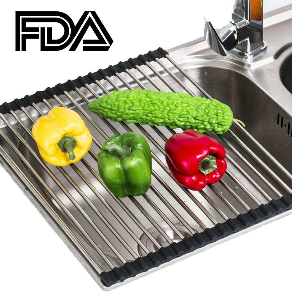 Roll-Up Dish Drying Rack,High Temperature Resistance Over The Sink Drying Rack stainless steel(SS304)-Black